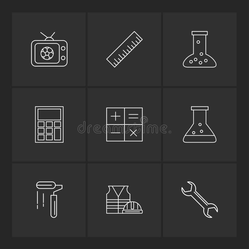 TV, schaal, beker, calculator, wiskunde, chemische fles, verf stock illustratie