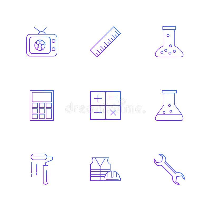TV, schaal, beker, calculator, wiskunde, chemische fles, verf royalty-vrije illustratie