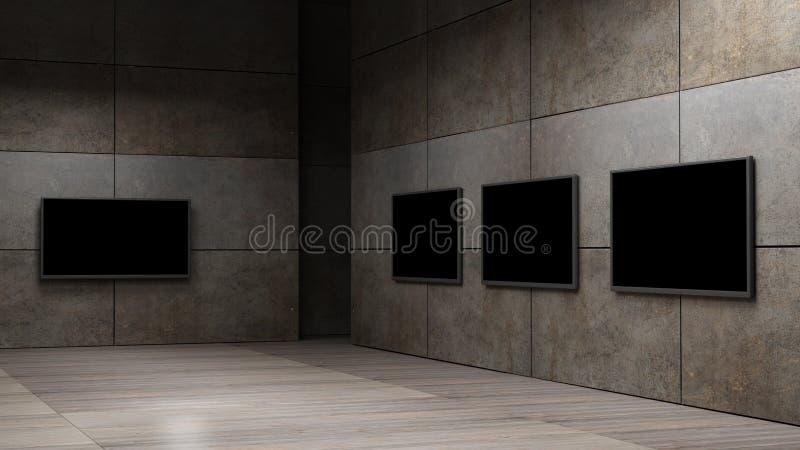 TV screen 3d rendering. TV screen high resolution 3d rendering royalty free illustration