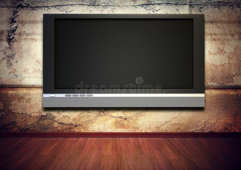 Tv screen grunge interior royalty free illustration
