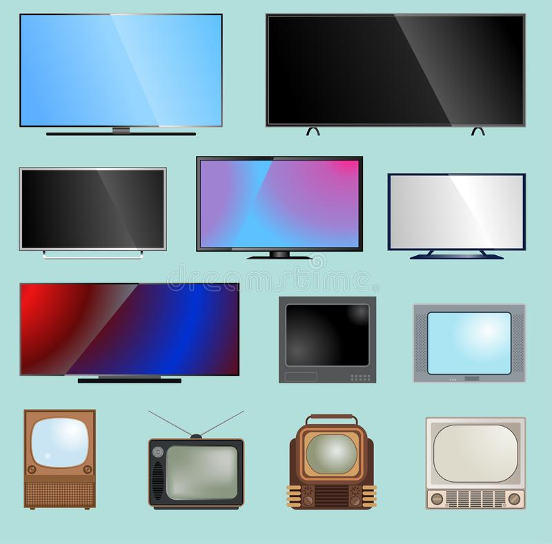 TV screen lcd monitor template vector illustration. Electronic device tv-screen infographic. Technology digital device royalty free illustration