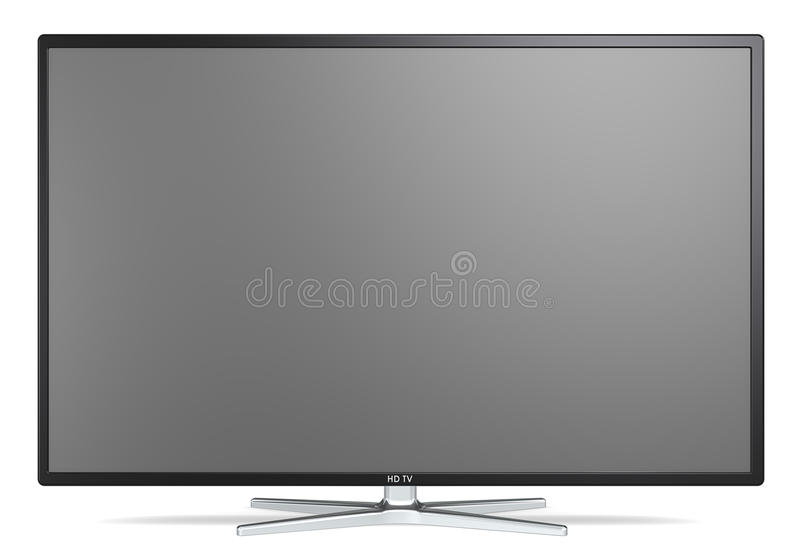 TV Screen. Non branded Widescreen TV on metal stand. Black frame. Blank for copy space vector illustration