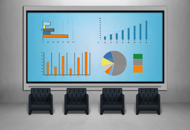Tv screen with stock chart. Tv screen in room with stock chart, four red chair stock images