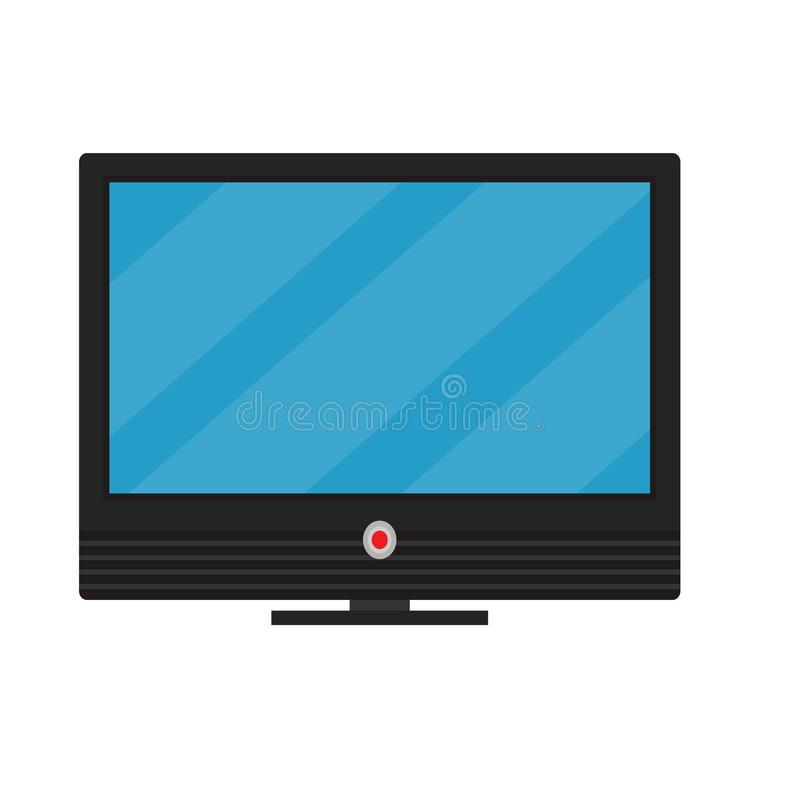 TV screen vector display electronic. Television video equipment icon. Flat monitor home LCD wide. LED plasma black panel royalty free illustration