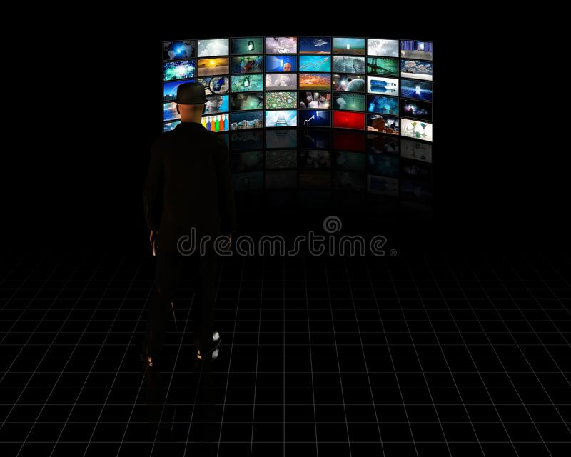 TV Screens. With viewer. Human elements were created with 3D software and are not from any actual human likenesses vector illustration
