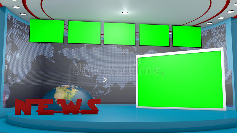 TV set in 3d. TV set and chroma key background vector illustration