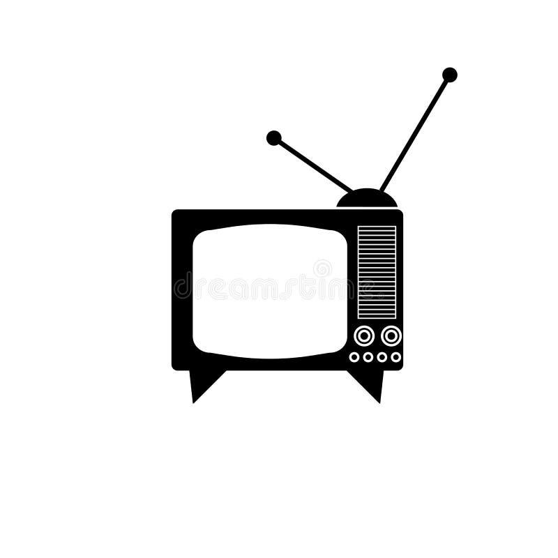 TV set with antenna vector icon. On white background, retro, vintage stock illustration