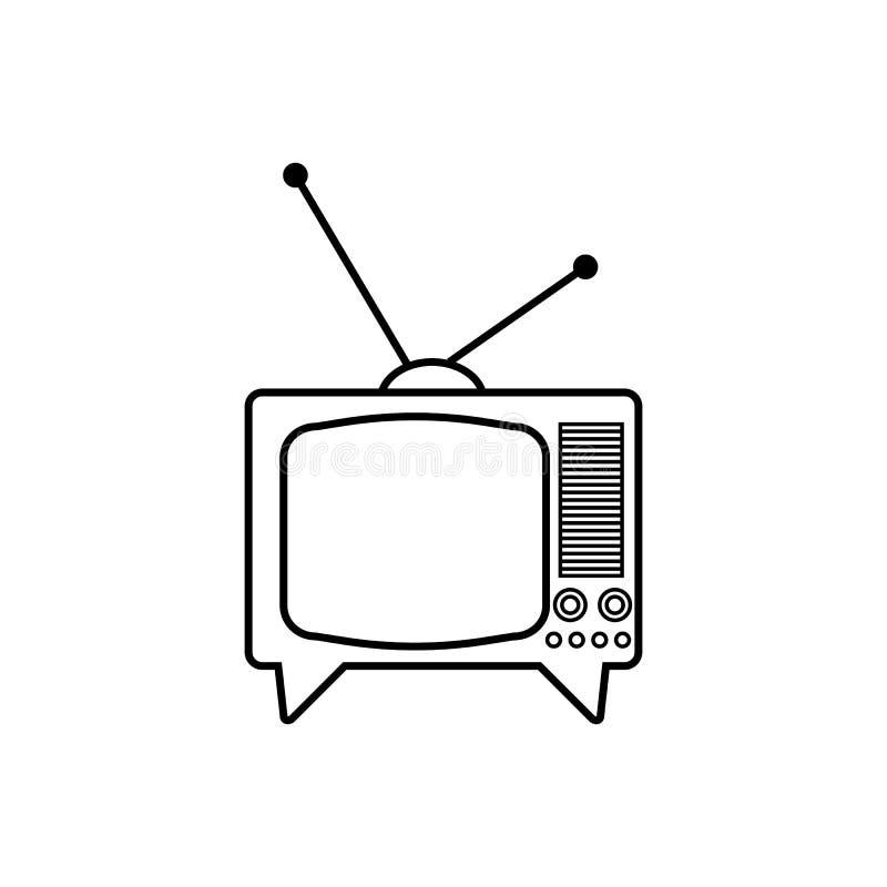 TV set with antenna vector icon. On white background, retro, vintage royalty free illustration