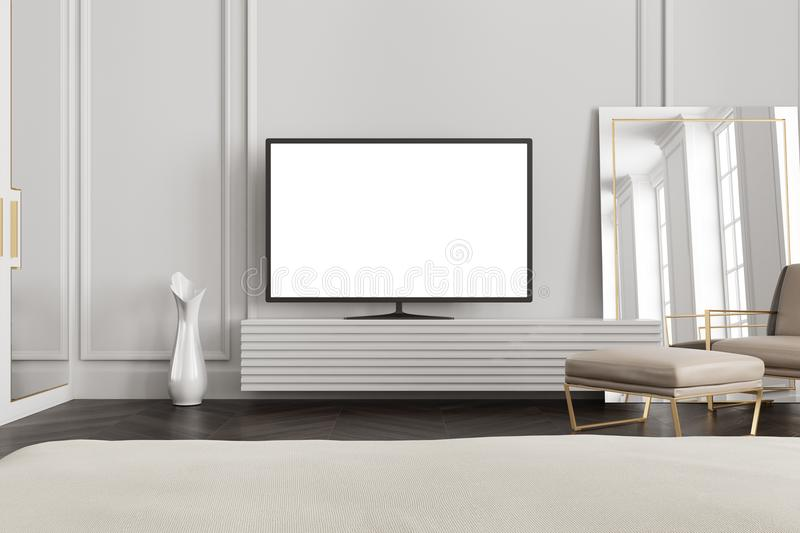 White screen TV set in a gray living room. TV set with a blank white screen is standing on a wooden closet in gray a living room interior. 3d rendering mock up royalty free illustration