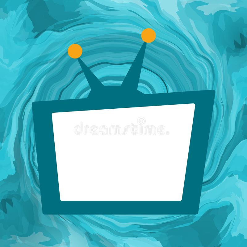 TV set background. TV set broadcasting with white empty screen on sea maelstrom background vector illustration