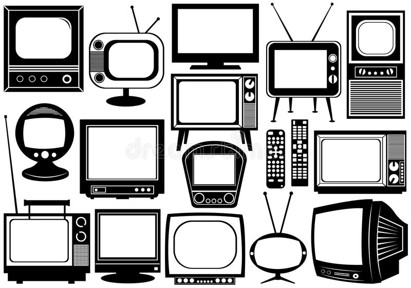 Tv Set Collage. Isolated on white royalty free illustration