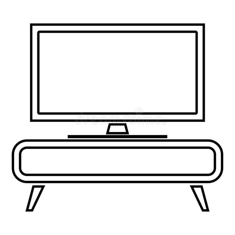 TV set on the cupboard commode bedside table Home interior concept icon black color outline vector illustration flat style image. TV set on the cupboard commode royalty free illustration
