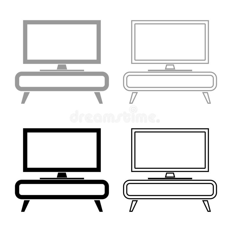 TV set on the cupboard commode bedside table Home interior concept icon set black color vector illustration flat style image. TV set on the cupboard commode royalty free illustration