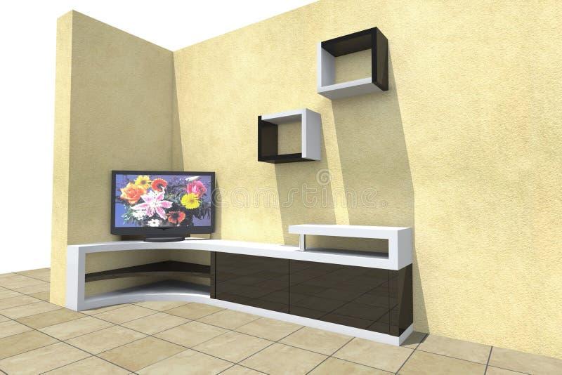 TV set 3D. Model mebel furniture Program Autocad, ArchiCAD, Photoshop, Artlantis royalty free illustration