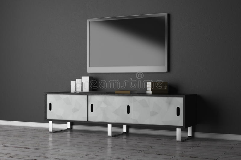 TV set with empty monitor stock illustration