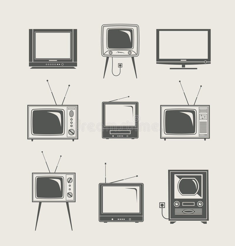 Tv set icon. New and vintage vector illustration royalty free illustration