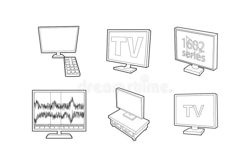 Tv set icon set, outline style. Tv set icon set. Outline set of tv set vector icons for web design isolated on white background royalty free illustration