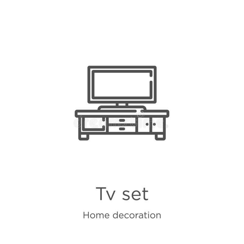 tv set icon vector from home decoration collection. Thin line tv set outline icon vector illustration. Outline, thin line tv set stock illustration