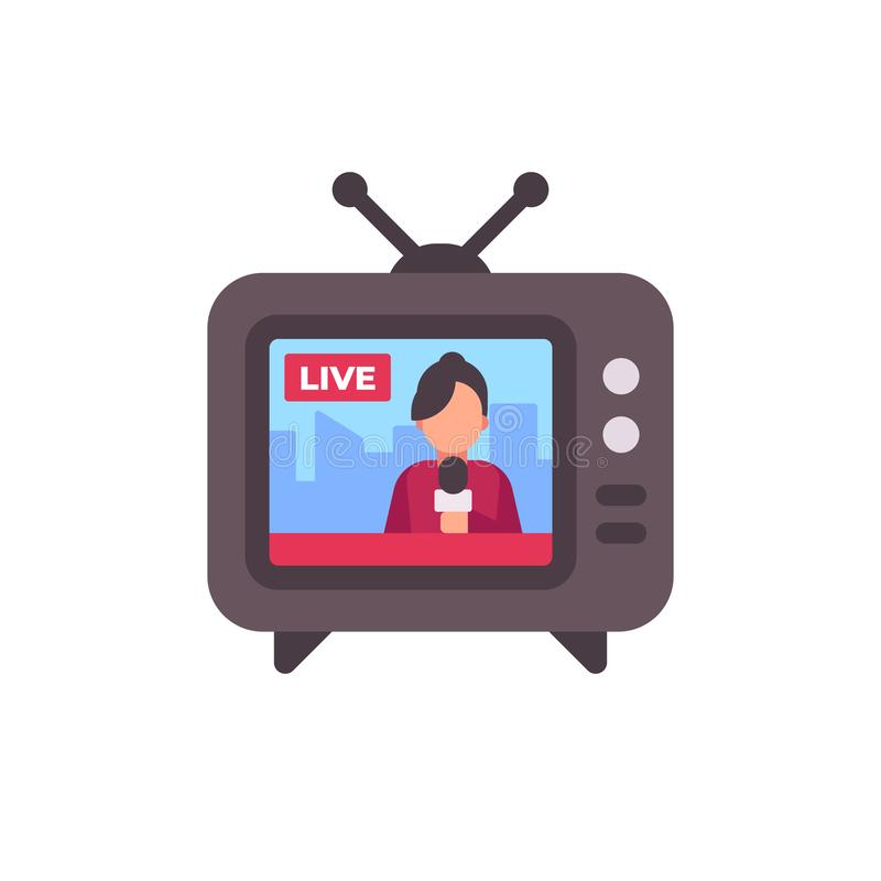 TV set with live news on screen flat icon royalty free illustration
