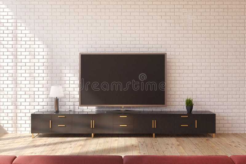 TV set living room. Minimalistic living room interior with a wooden closet standing near a white brick wall and a wide screen TV set on it. 3d rendering, mock up stock illustration