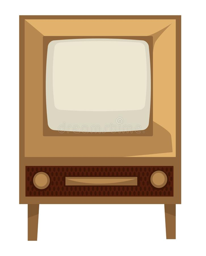 TV set of 50s, retro device in 1950s style isolated screen with wooden panel. House electric appliance, TV set of 50s, retro device in 1950s style isolated stock illustration
