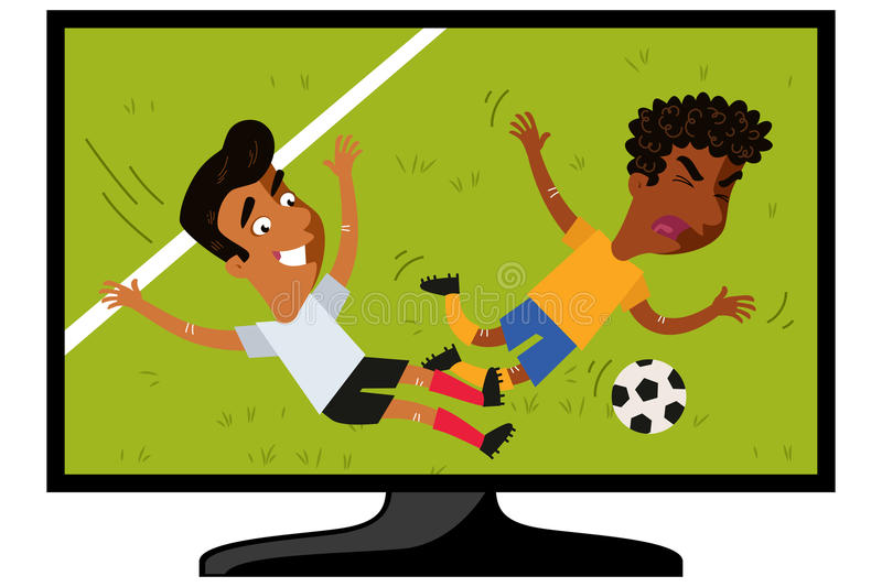 TV set showing cartoon football player tackling opponent on football field. Isolated on white background stock illustration
