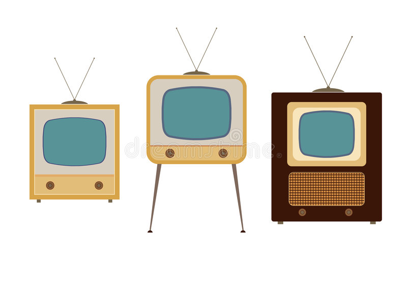 Tv sets from the 1950s. Illustrations royalty free illustration