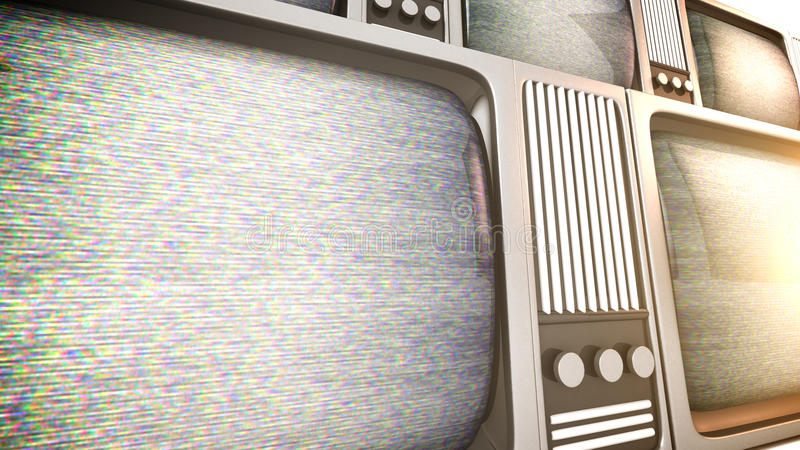 Tv sets with static. stock illustration