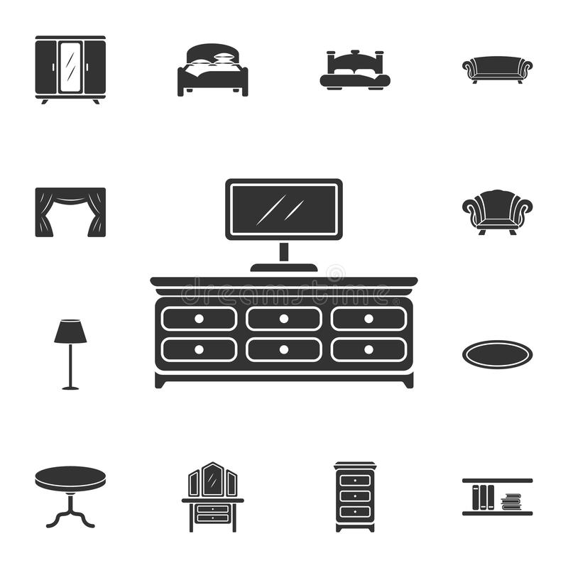 Tv shelf icon. Simple element illustration. Tv shelf symbol design from Home Furniture collection set. Can be used for web and mob. Ile on white background royalty free illustration