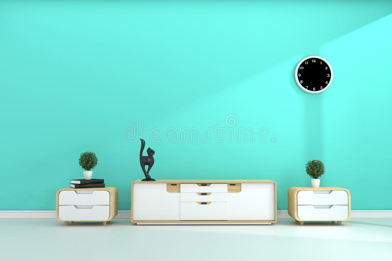 Tv shelf in mint room modern tropical style - empty room interior - minimal design. 3d rendering. Mock up Tv shelf in mint room modern tropical style - empty vector illustration