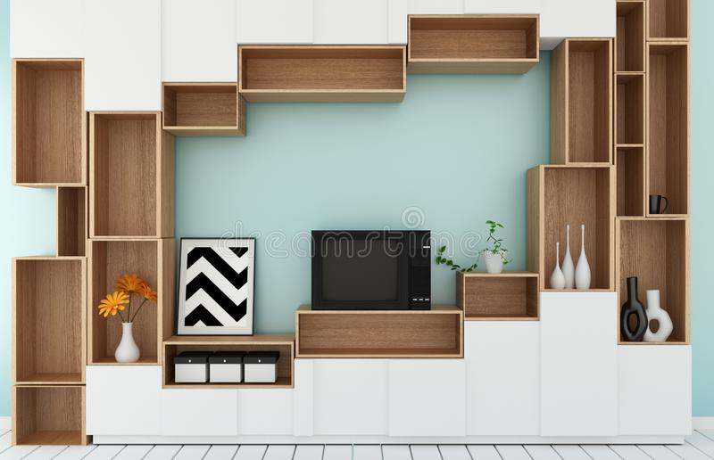 Mock up Tv shelf in mint room modern tropical style - empty room interior - minimal design. 3d rendering. Tv shelf in mint room modern tropical style - empty stock illustration