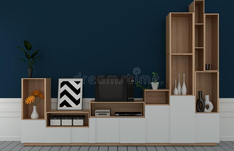 Mock up Tv shelf in mint room modern tropical style - empty room interior - minimal design. 3d rendering. Tv shelf in mint room modern tropical style - empty vector illustration