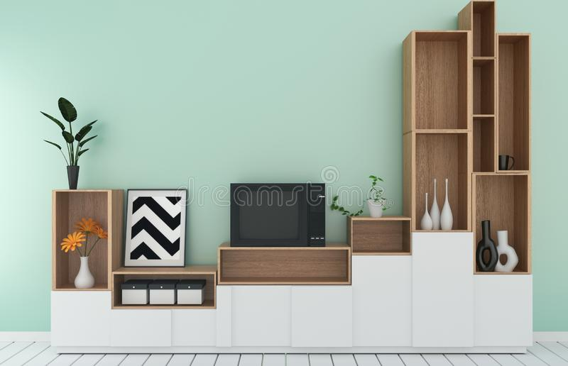 Mock up Tv shelf in mint room modern tropical style - empty room interior - minimal design. 3d rendering. Tv shelf in mint room modern tropical style - empty royalty free illustration
