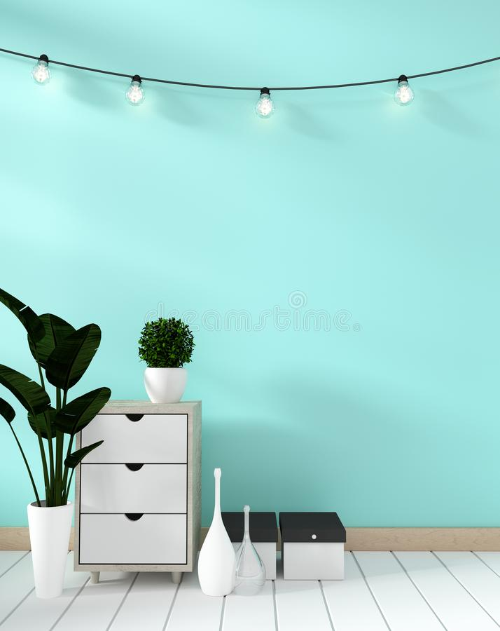 Mock up Tv shelf in mint room modern zen style - empty room interior - minimal design. 3d rendering. Tv shelf in mint room modern zen style - empty room interior vector illustration
