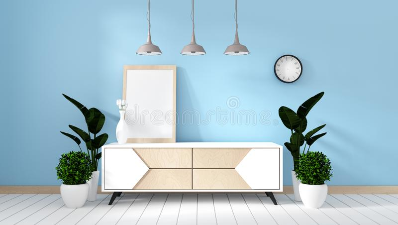Mock up Tv shelf in mint room modern zen style - empty room interior - minimal design. 3d rendering. Tv shelf in mint room modern zen style - empty room interior royalty free illustration