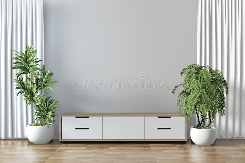 Mock up - Mock Tv shelf in modern empty room and decoration plants on white wall floor wooden.3D rendering. Tv shelf in modern empty room and decoration plants vector illustration
