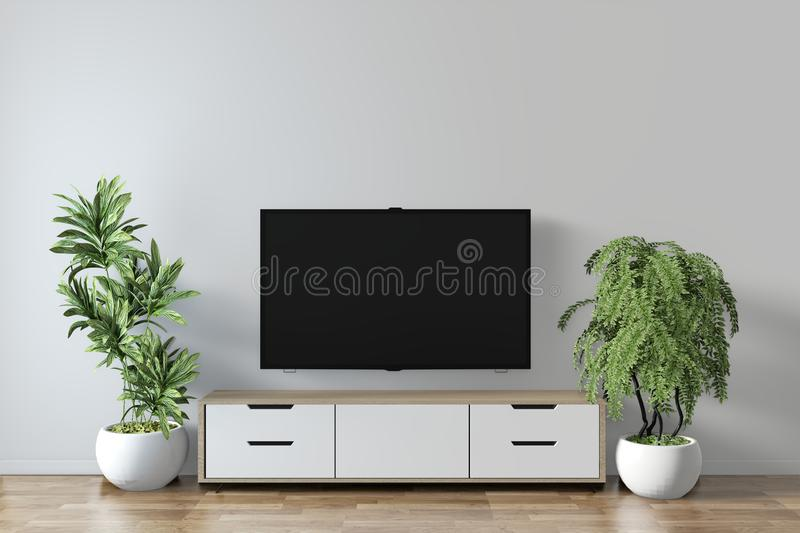 Mock up - Tv shelf in modern empty room and decoration plants on white wall floor wooden.3D rendering. Tv shelf in modern empty room and decoration plants on royalty free illustration