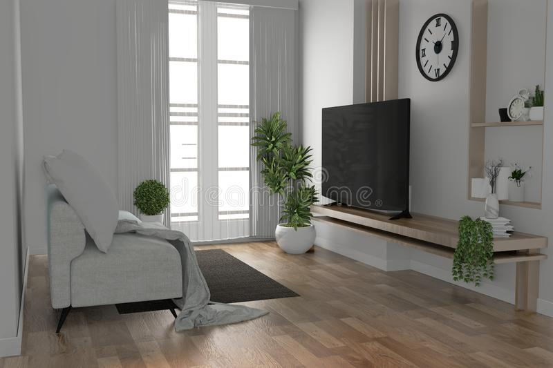 Mock up - Tv shelf in modern empty room and decoration plants on white wall floor wooden.3D rendering. Tv shelf in modern empty room and decoration plants on stock illustration