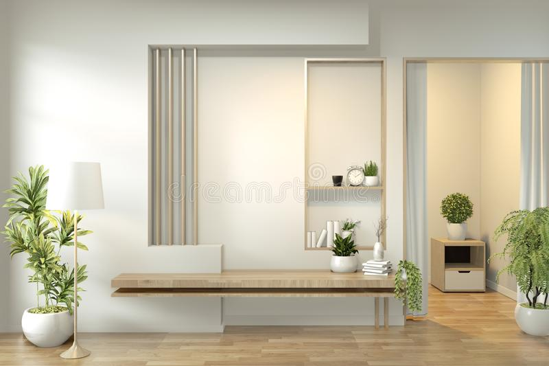 Mock up - Tv shelf in modern empty room and decoration plants on white wall floor wooden.3D rendering. Tv shelf in modern empty room and decoration plants on vector illustration
