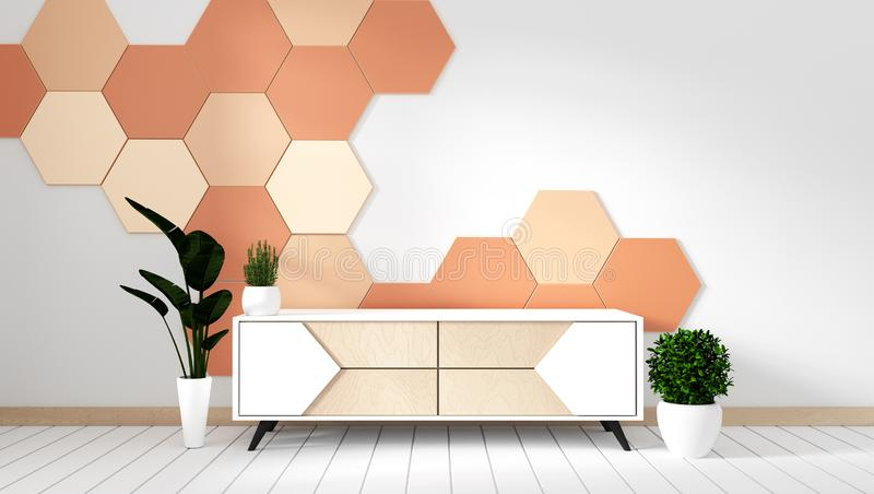 Mock up Tv shelf in modern empty room with plants on orange hexagon tile background,3d rendering. Tv shelf in modern empty room with plants on orange hexagon royalty free illustration