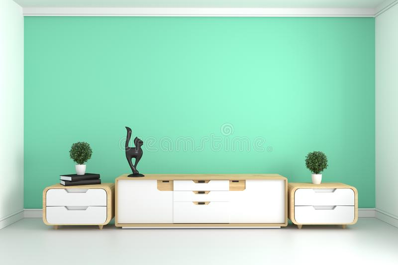 Mock up TV shelf in modern mint room - empty room interior-minimal design. 3d rendering. TV shelf in modern mint room - empty room interior-minimal design. 3d stock illustration
