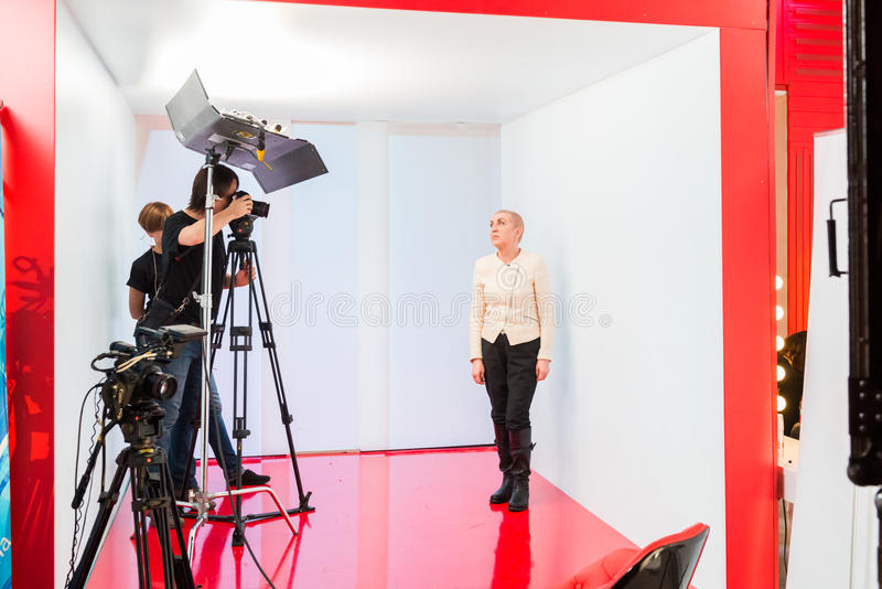 TV show filming backstage. MOSCOW, RUSSIA - January 30, 2015 - TV show filming backstage royalty free stock image
