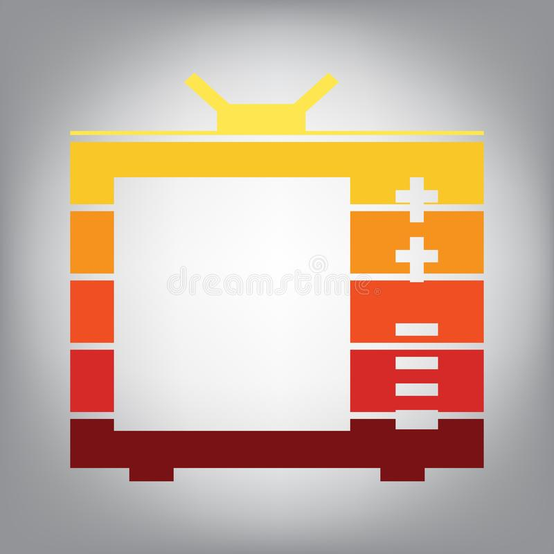 TV sign illustration. Vector. Horizontally sliced icon with colo. Rs from sunny gradient in gray background vector illustration