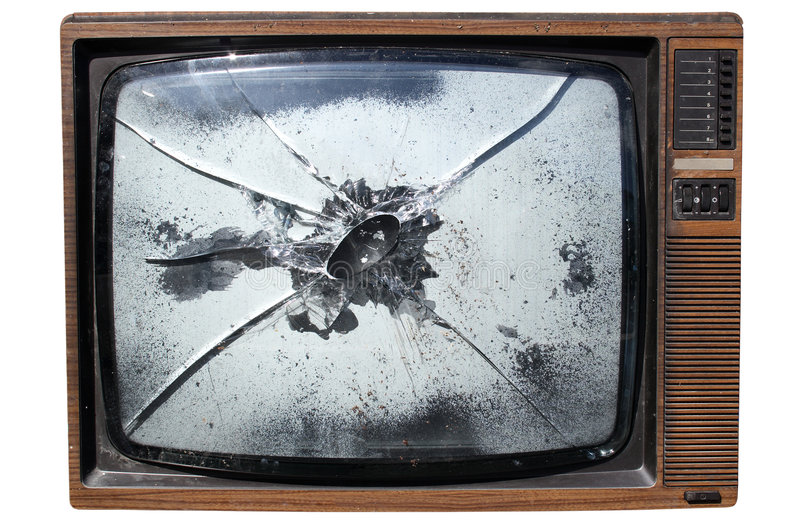 Download TV with a smashed screen stock photo. Image of isolated - 2332088
