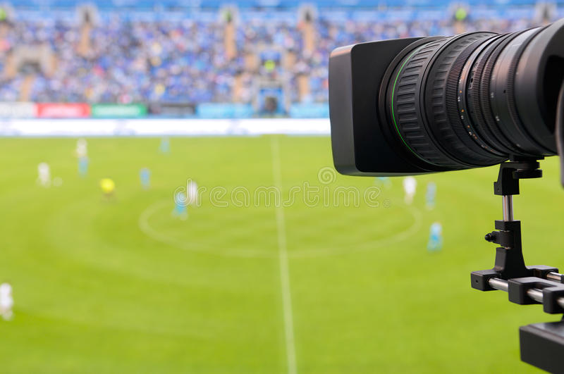 TV at the soccer. stock photography