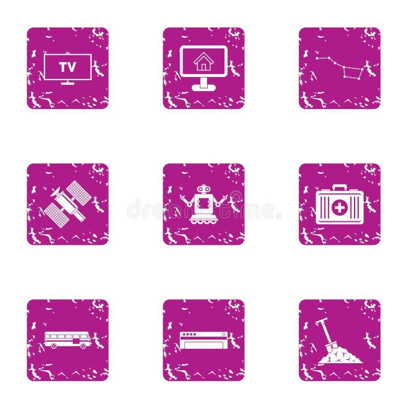TV software icons set, grunge style. TV software icons set. Grunge set of 9 tv software vector icons for web isolated on white background stock illustration