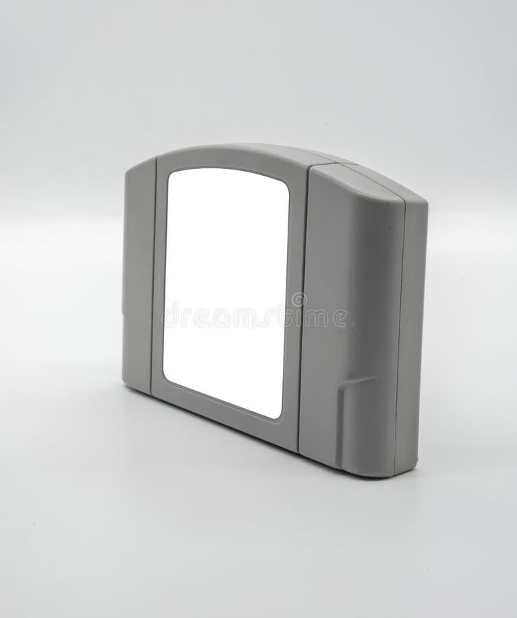 TV-spelpatroon in grijs plastic die geval van jaren '90 op whit worden geïsoleerd stock afbeeldingen