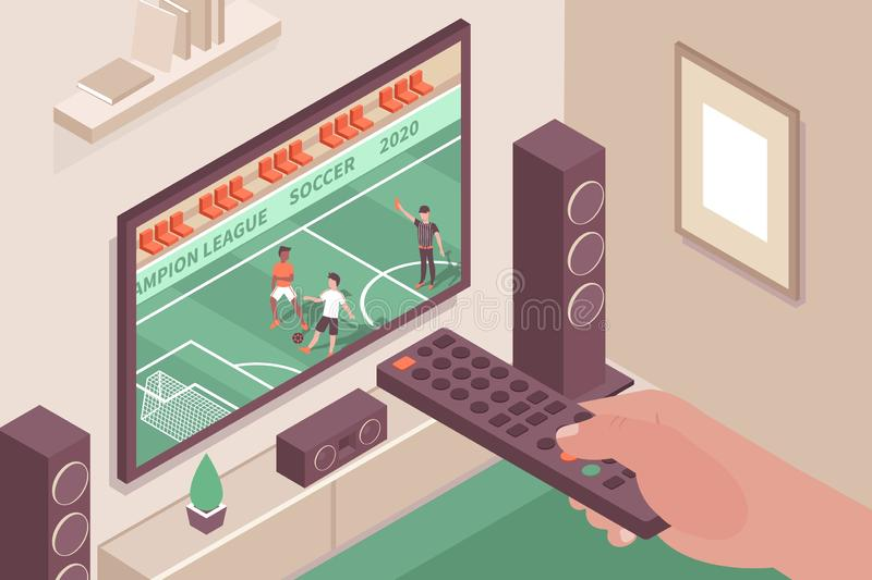 TV Sports Channel Composition. Sports channel indoor composition with images of home theater system tv screen and hand with remote vector illustration vector illustration