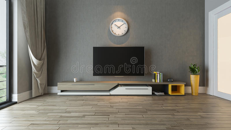 Tv stand in the living room decor idea. Tv stand with plant in the room decor idea 3D rendering stock illustration
