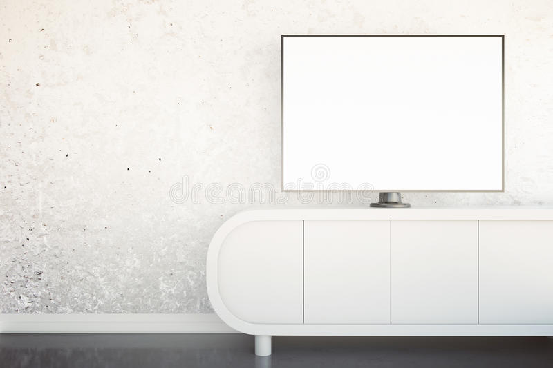 TV stand with monitor. Front view of light tv stand with blank white TV screen in interior with concrete wall and shiny floor. Mock up, 3D Rendering vector illustration